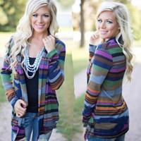 asymmetrical wool jacket - New Women s Striped Long Sleeve Cardigan Loose Sweater Outwear Jacket Coat Striped Asymmetrical Multicolor Cardigan