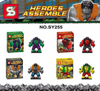 Wholesale SY255 New Super Heroes Avengers Age Of Ultron GREEN GREY PURPLE RED Hulk mini figure Building Blocks Bricks Children Kid Education Toys Gift