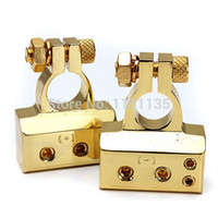Wholesale 2Pcs High Quality Awg Car Auto Positive Negative Battery Terminal Clamps Gold