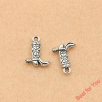 antique shoe horn - 100pcs Antique Silver Plated Cowboy Boots Shoe Charms Pendants For Jewelry Making Craft Diy Handmade x13mm