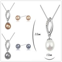 Wholesale Cheap White Gold Plated Pearl Ball Jewelry Sets Pearl Charms Leaf Pendant Necklace Round Pearl Ball Stud Earrings Wedding Jewelry Sets