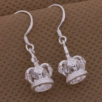 Wholesale 1 CM sterling silver woman crown earring plated fashion style new year gift AE339
