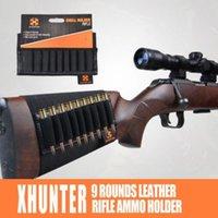 Wholesale Xhunter Leather Buttstock Rifle Cartridge Holder Ammo Rifle Gun Bullet Carrier