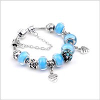 azure silver - Women Bracelets packing Euro American decoration bracelet Silver plate a big bore azure stone of chain bead freeshiping