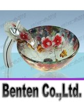 Wholesale 2015 available toughened glass containers bathroom vanity to print color sink bowl of water LLFA4278F