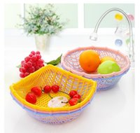 plastic basket - Drain vegetables home essential thicker plastic basket mor color style