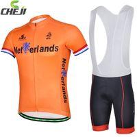 Wholesale 2015 CHEJI short sleeve Netherlands Cycling jerseys China none bib pants suits cycling wear Orange short sleeves suits