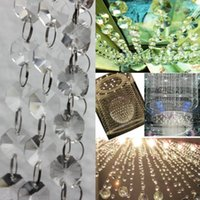 Wholesale 1 Octagon FT Clear Glass Chandelier Wedding Crystal Lamp Bean Chain Prisms