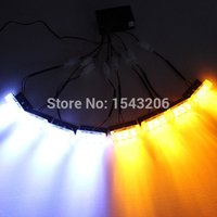 Wholesale New V x LED Flash Amber White Car Emergency Light Bars Warning Strobe Lamp order lt no tracking