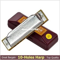 Wholesale Top Quality Silver Suzuki Holes Harp New Beginner Key of C Blues Harp gaita de boca harmonica Diatonic Harmonica Sale