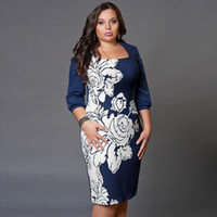 Wholesale 2016 Autumn Winter Women Office Work Dress Sexy Casual Fashion Elegant Bodycon Blue Print Dresses Plus Size Clothing xl xl xl