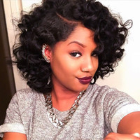 big bobs - 7A Brazilian human hair curly wigs short Natural wave Glueless Full lace wigs Lace front short bob wigs for black women