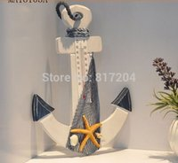 Wholesale HOT Fashion Leader rudder Hand Wooden Thermometer Anchor hanging Mediterranean home Hangings zs005