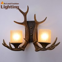Wholesale Antique Antlers Rural Wall Lamp Art Design Loft Style Corridor Hallway Creative Lights For Bar Club