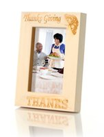 Wholesale quot Thanksgiving THANKS quot Handmade Curved Wood Photo Frame with Retail Box x7 Vertical Stock in US Canada