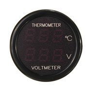 Wholesale High Quality In Car V Red Blue Dual Display LED Dual Digital Thermometer Voltmeter Temperature Meter