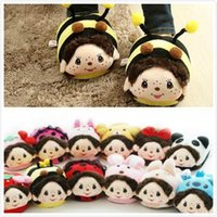 Wholesale 2014 Cute Cartoon Stitch Rabbit MONCHHICHI Bee Panda Rilakkuma Women Female House Home Plush Slippers Indoor cotton padded