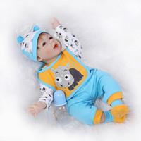 "Unisex 3-4 Years Silicone 22"" Durable Silicone Reborn Baby Open Eyes Doll Newborn Boy Alive Doll Toys Educational Nursing Women Treats"