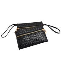 Wholesale Women Bag Lady Zipper Weave Handbag Grid Evening Bag Purse Clutch Black