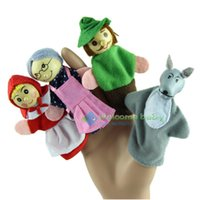 Wholesale 40pcs Little Red Riding Hood Christmas Animal Finger Puppet Educational Toys Bed Story telling Doll cloth