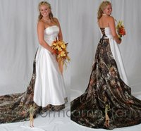 Reference Images wedding gown detachable train - Plus Size Camo Wedding Dresses Cheap Strapless Lace Up Best Design Detachable Train Ruffles Custom Made Satin Wedding Gowns