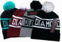 Wholesale Shipping free new design Diamond Supply Co Beanie with pom winter warmer skull cap Pom Beanies