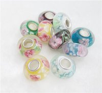 Wholesale 7x14mm Handmade Lampwork Bead Big Hole loose Charms Glass Beads Fits European Bracelet for Jewelry findings mix style