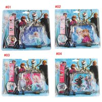 Wholesale New Frozen Watch and Wallet Sets Kids boys girls children wallet and watches Frozen Quartz Cartoon Fashion Gift Purse Watches