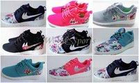 Wholesale New Roshe Run Floral Women And Men Running Shoes Fashion Athletic Casual Sports Shoes Flower Boy Girl Mesh Free Run Shoe