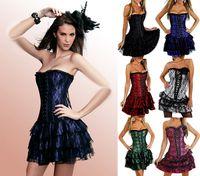 Wholesale Steel Bone Corset Dress - 2016 New Steel Boned Corset Dress +G-string Bustier Top Sexy Lingerie Gothic Clubwear Free shipping 7 Colors S M L XL XXL