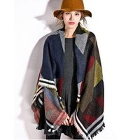 Wholesale New Fashion styles winter high quality European and American big color geometric warm shawl big square scarves and pashmina