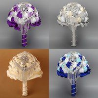 Wholesale Designer Wedding bouquets Rhinestone New Silk Arrival Many Color Pins Hand Made Flower Beading Bridal Party Bouquets