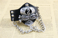 african dollars - 2016 New Arrive Fashion Punk Studs Metal Chain Dollar Skull Decorated Leather Wristband Bracelet Bangle Cuff Gift