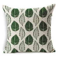 Wholesale Flowers Plants Green Cotton Linen Decorative Throw Pillow Case Cushion Cover Home Decoration Christmas Gifts quot x18 quot x45cm Customer made