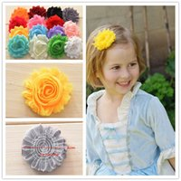 shabby flower trim - 150pcs quot Shabby Chiffon Flower Rosette Shabby Rose Trim Frayed Flowers baby hair accessories Single flower Fabric flower