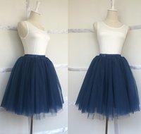 skater skirt - Navy Blue Mini Tulle Skirt Princess Women s Tutu Midi Skater Skirt Layers Above Knee Length Short Saias Femininas Jupe