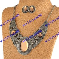 Wholesale Hot Sale Women Earrings Necklace Colorful African Costume Jewelry Set For Party