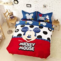 Wholesale mickey mouse queen fitted sheet set fitted bed sheet type mickey mouse king size bedding sets cartoon kids bedding mickey mouse