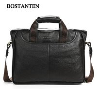 Wholesale Cowhide men s business briefcase Genuine leather man vintage cross body one shoulder computer bag Luxury leather bag