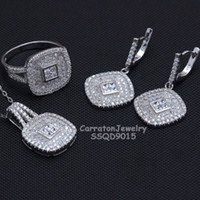 Wholesale Hot Sale Real Solid Silver EuropeanTrendy Betrothal Jewelry sets Sterling Silver Top AAA CZ Diamonds Pendant Earrings Ring SSQD9015