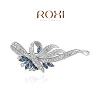 Wholesale ROXI Fashion pearl flower brooch with austrian crystal girl jewelry summer accessories fashion Rose Gold Plated trend jewelry