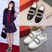 Wholesale classic rhinestone buckle lazy white black loafers flat with lifted insole heel