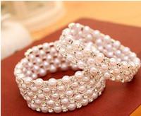 Wholesale Bracelet End End oF Year Clearance Sale Row Rhinestone Stretch Bangle Bracelet Wedding Party Bridal Jewelry Cheap