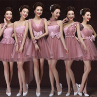 Wholesale 2016 New Cheap Junior Bridesmaid Dresses Short Lace Tulle Bows Lace Up Bridesmaid Dress Party Gowns Cameo Style