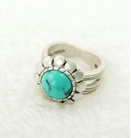 Wholesale New Arrival Vintage Jewelry Tibetan Silver Rings For Women Carved Genuine Turquoise Finger Ring