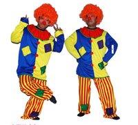 Wholesale Clown Costume Adult Size Colorful Clown Dressing Suit Men Carnival Dance Party