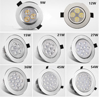 Wholesale Recessed Downlight W W W W W W LED ceiling light sliver shell warm white cool white AC85 V sportlight panel downlight Indoor light