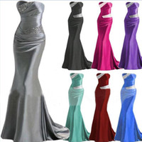 elastic bandage - Custom made Prom Evening Dresses Bridesmaid Occasion Dress Mermaid Sweetheart Silver Grey Burgundy Purple IN STOCK Beaded Formal Gowns