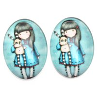 Wholesale 2015 New Arrival Girl Holding Baby Pattern Jewelry Findings Oval Glass Paster Jewelry Findings mm