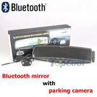 Wholesale Bluetooth Handsfree Car Kit mirror TFT Monitor Rearview Mirror with Wireless Parking Camera TTS Wireless bluetooth FM